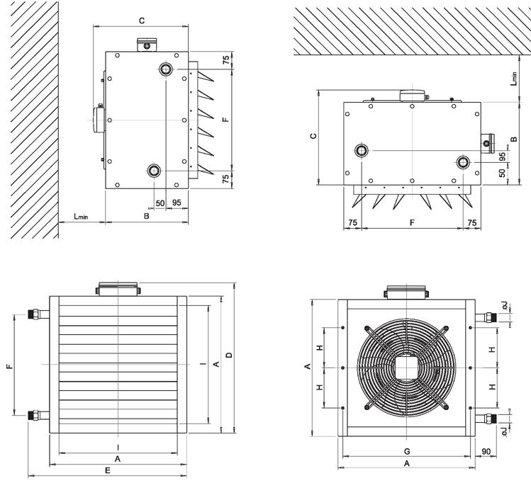 Габаритные размеры тепловентиляторов Varmann VH